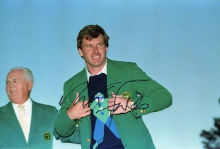 Nick Faldo, Masters 1990 Augusta, signed 12x8 inch photo.